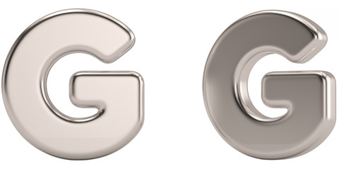 Letter g from steel solid alphabet isolated on white background. 3D illustration.