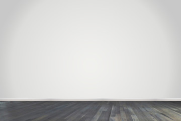 Empty room with light gray wall and dark floor