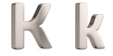 Letter k from steel solid alphabet isolated on white background. 3D illustration.