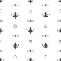 Merry Christmas Background. Holiday Vector Seamless Pattern. Hand Drawn Doodle Christmas Tree and Xmas Gift Boxes. Winter Holidays. New year Wallpaper