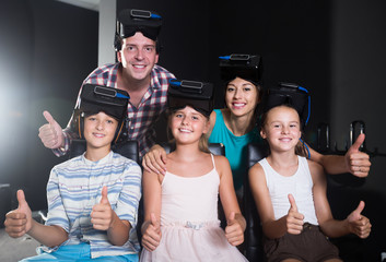 Young family is satisfied of VR