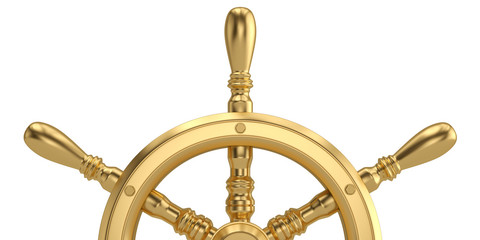 Golden ship steering wheel isolated on white background 3D illustration.