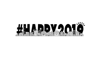Hashtag happy 2019, doodles, swirls, stars and sparklers on a colored background, vector illustration.