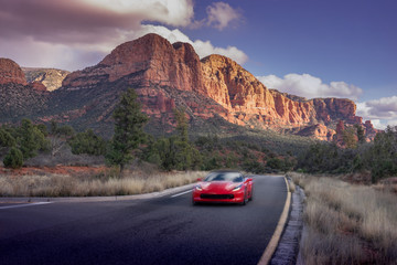 Driving through spectacular Arizona desert landscape in Sedona.