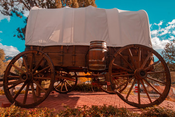 Wild West Wagon Wheel caravan retro vintage South West iconic transport.