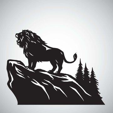 Wild Lion Snarling Roaring on a Hill. Vector Illustration Logo Design