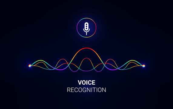 Personal assistant and voice recognition concept. Soundwave intelligent technologies. Microphone icon. Vector illustration. Voice assistant logo.Communication with phone. .