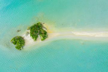 海の中に大きな岩と自然が広がっている風景