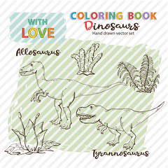 Coloring book Allosaurus and Tyrannosaurus with plant and stone