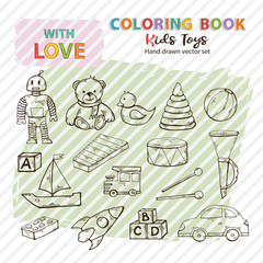 Coloring book kids toys set hand drawn in doodle style,Child toys silhouette,symbol clip art collection isolated on a background.Teddy bear,robot,duck,pyramid,drum,musical instrument,pipe,machine