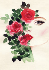 Poster de jardin Portrait Aquarelle beautiful woman and flowers . fashion illustration. watercolor painting