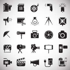 Photography and videography icon set on white background for graphic and web design, Modern simple vector sign. Internet concept. Trendy symbol for website design web button or mobile app