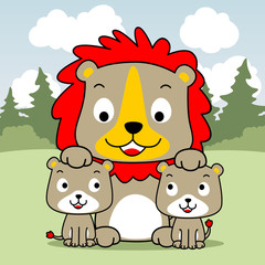 Lion family cartoon in the nature