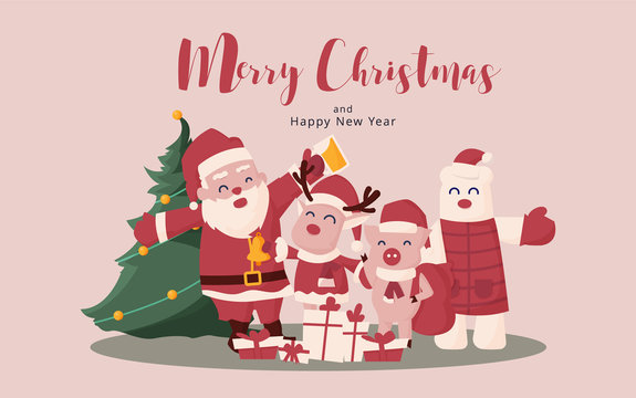 Merry Christmas and Happy New Year. Christmas Cute Animals Character. Funny happy character.