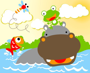 Hippo cartoon with little friends