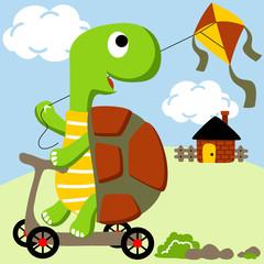 funny turtle cartoon playing kite