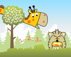 Animals cartoon in jungle, giraffe and tiger