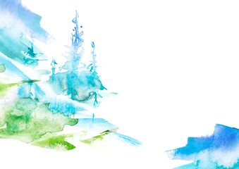 Watercolor art illustration. Drawing of the blue, green forest, pine tree, spruce. Dark, dense forest, suburban landscape. Postcard, logo, card. Misty forest, haze.Abstract Watercolor splash, logo