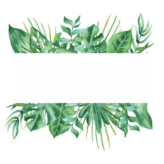 Watercolor banner with tropical leaves and flowers, watercolor stains. Composition with watercolor stains, golden plants for cards, invitations, wedding and summer designs.