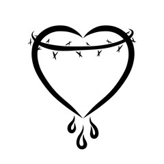 Heart with thorns and drops, black pattern