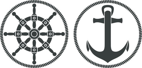 Sea emblem. Anchor, steering wheel, rope in gray