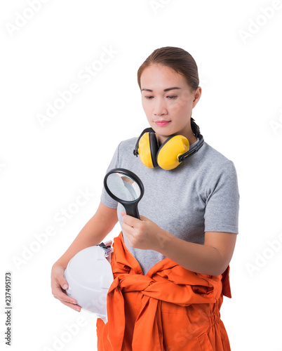 ad884a21804 portrait of a woman worker in Mechanic Jumpsuit hand holding Magnifying  glass isolated on white background