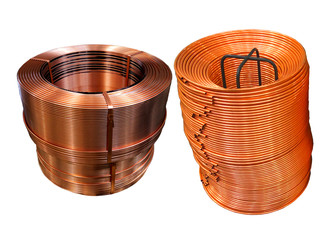 Coil of Copper tube are rolling and packing for selling
