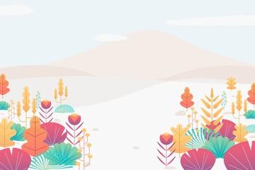 Colorful fantasy leaves background template horizontal format. Vector illustration fantasy leaves flat design.