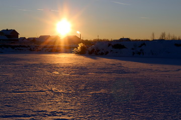 Landscape winter time set sun evening sunset
