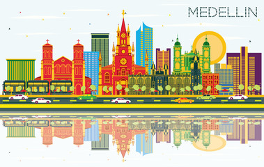 Medellin Colombia City Skyline with Color Buildings, Blue Sky and Reflections.