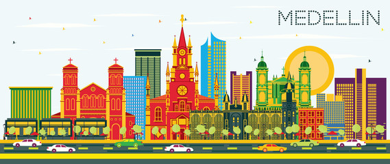 Wall Mural - Medellin Colombia City Skyline with Color Buildings and Blue Sky.