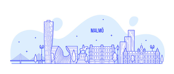 Fotomurales - Malmo skyline Sweden city buildings vector linear