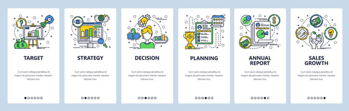 Web site onboarding screens. Company business strategy planning and financial report. Menu vector banner template for website and mobile app development. Modern design linear art flat illustration.