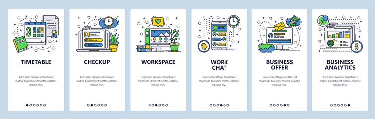 Web site onboarding screens. Office workplace, business analytics, deadline and work chat. Menu vector banner template for website and mobile app development. Modern design linear art flat