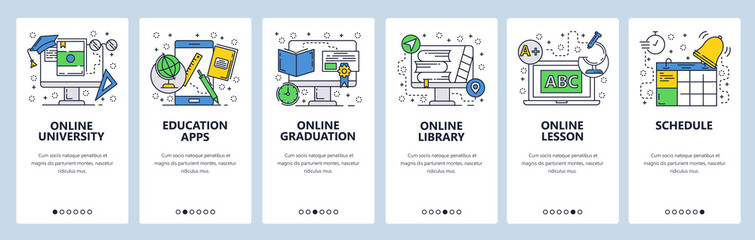 Web site onboarding screens. Online education, lesson and graduation. Menu vector banner template for website and mobile app development. Modern design linear art flat illustration.