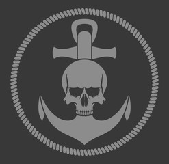 Sea emblem.Anchor, rope, skull in gray on a black background.