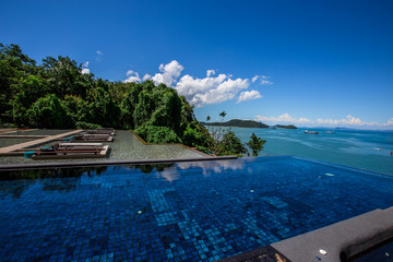 Sri Panwa Phuket Luxury Pool Villa Hotel: September 20, 2018, the atmosphere in the dining room, the tourist area, the swimming pool and the sea view, near the Cape Panwa, Muang, Phuket, Thailand.