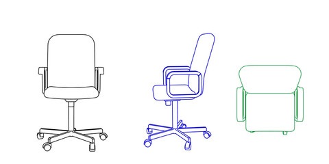 Office chair icon. Vector outline illustration.