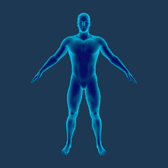 Standing man. Isolated on blue background. Vector illustration. Pointillism style.