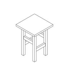 Stool. Vector outline illustration.