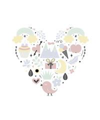 Heart shape illustration. Romantic cute elements. Flat