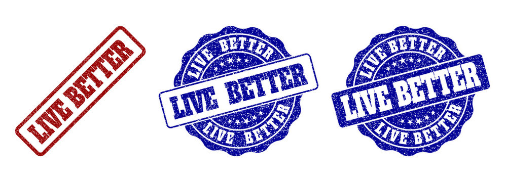 LIVE BETTER grunge stamp seals in red and blue colors. Vector LIVE BETTER marks with grunge surface. Graphic elements are rounded rectangles, rosettes, circles and text captions.