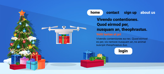 Drone delivery present new year merry christmas holiday concept fir tree gift box decoration flat horizontal copy space