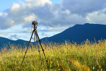 Technique of photographing timelapse, beautiful sky and summer landscape in the mountains