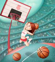 Fantasy illustration with  girl throwing  ball in  basketball basket.