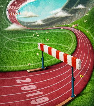Fantasy illusion illustration at  sports stadium track with  barrier.