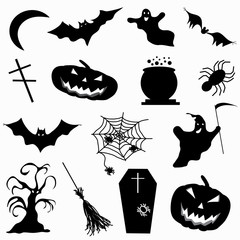 a collection of 15 icons Halloween illustration