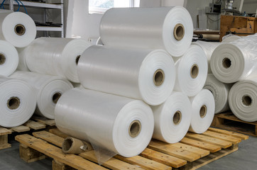 Warehouse with rolls of polyethylene