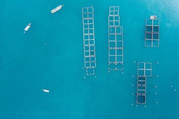 澄んだきれいな海で漁業を営む漁船