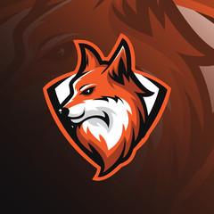 Fox logo mascot design vector with modern and emblem style. fox head illustration for sport team and printing tshirt.